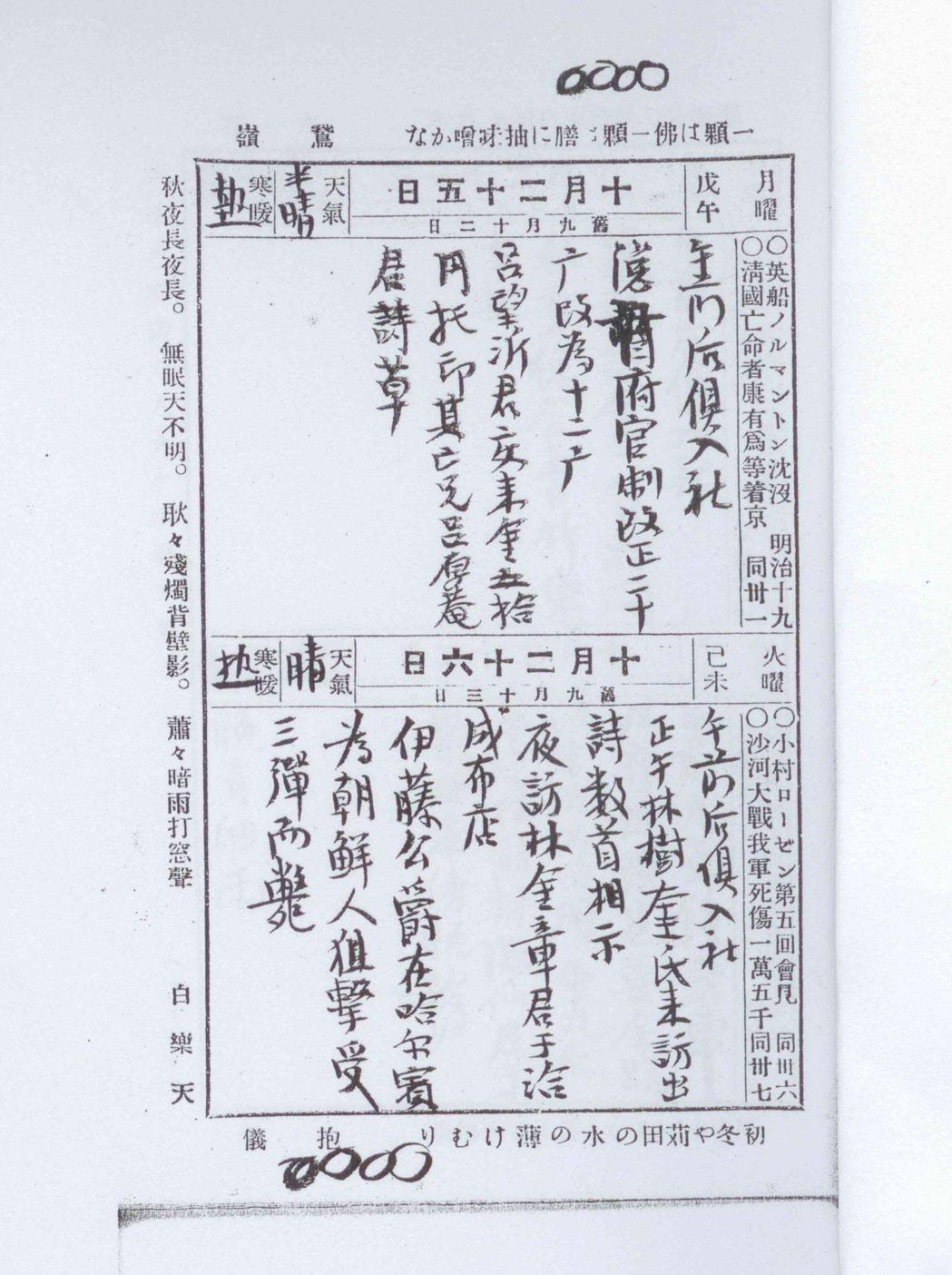傅錫祺1909年10月26日日記,記載伊藤被槍殺。圖/廖振富提供
