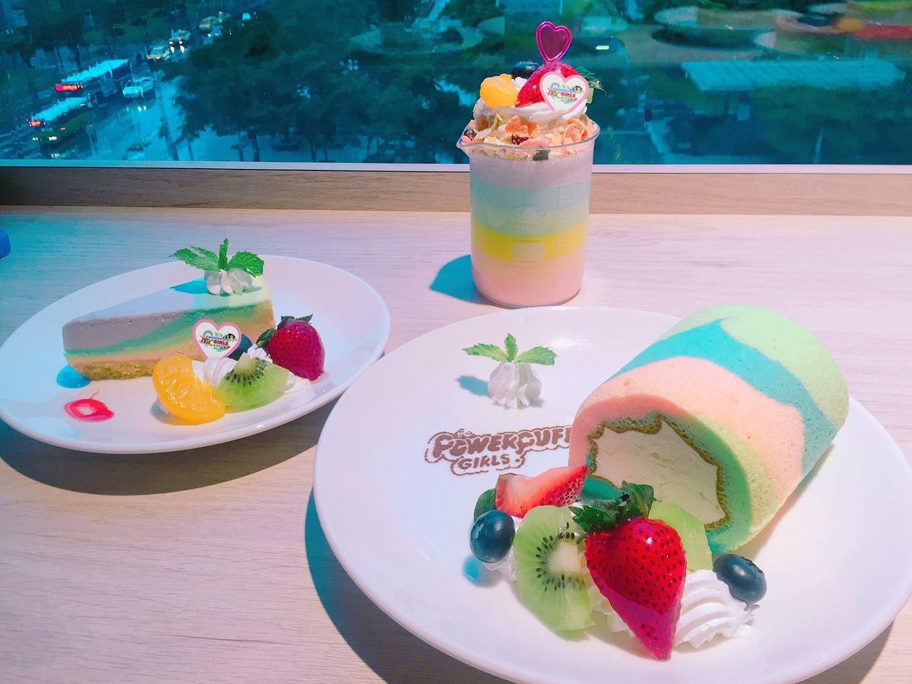 彩虹系列限定蛋糕,每日限量販售。圖/翻攝自飛天小女警主題餐廳粉絲頁