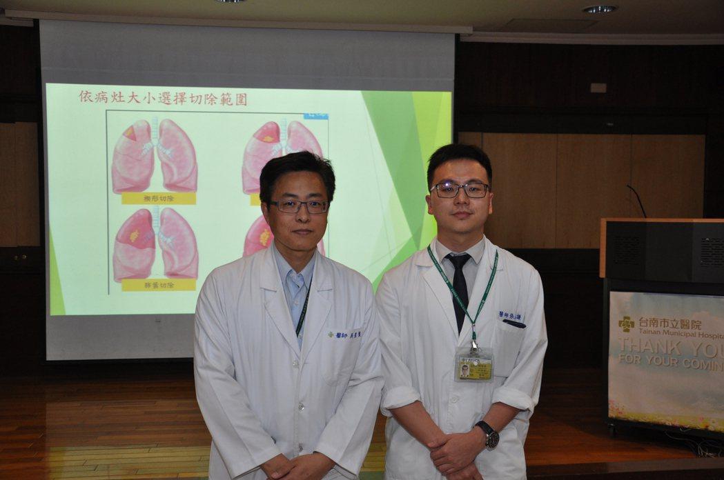 台南市立醫院外科部主任吳星賢 (左) 及胸腔外科主治醫師張逸謙(右)。圖/市醫提...