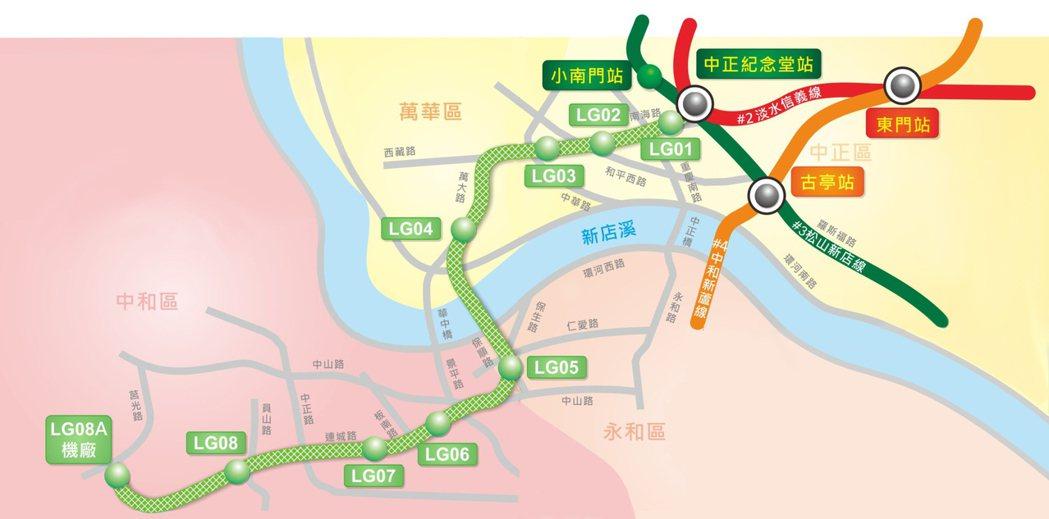 台北捷運萬大線從中正紀念堂站起共9站,代號分別為LG01到LG08及LG08A,...