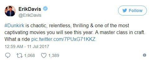 推特上有不少影評推崇「敦克爾克大行動」。圖/翻攝自推特