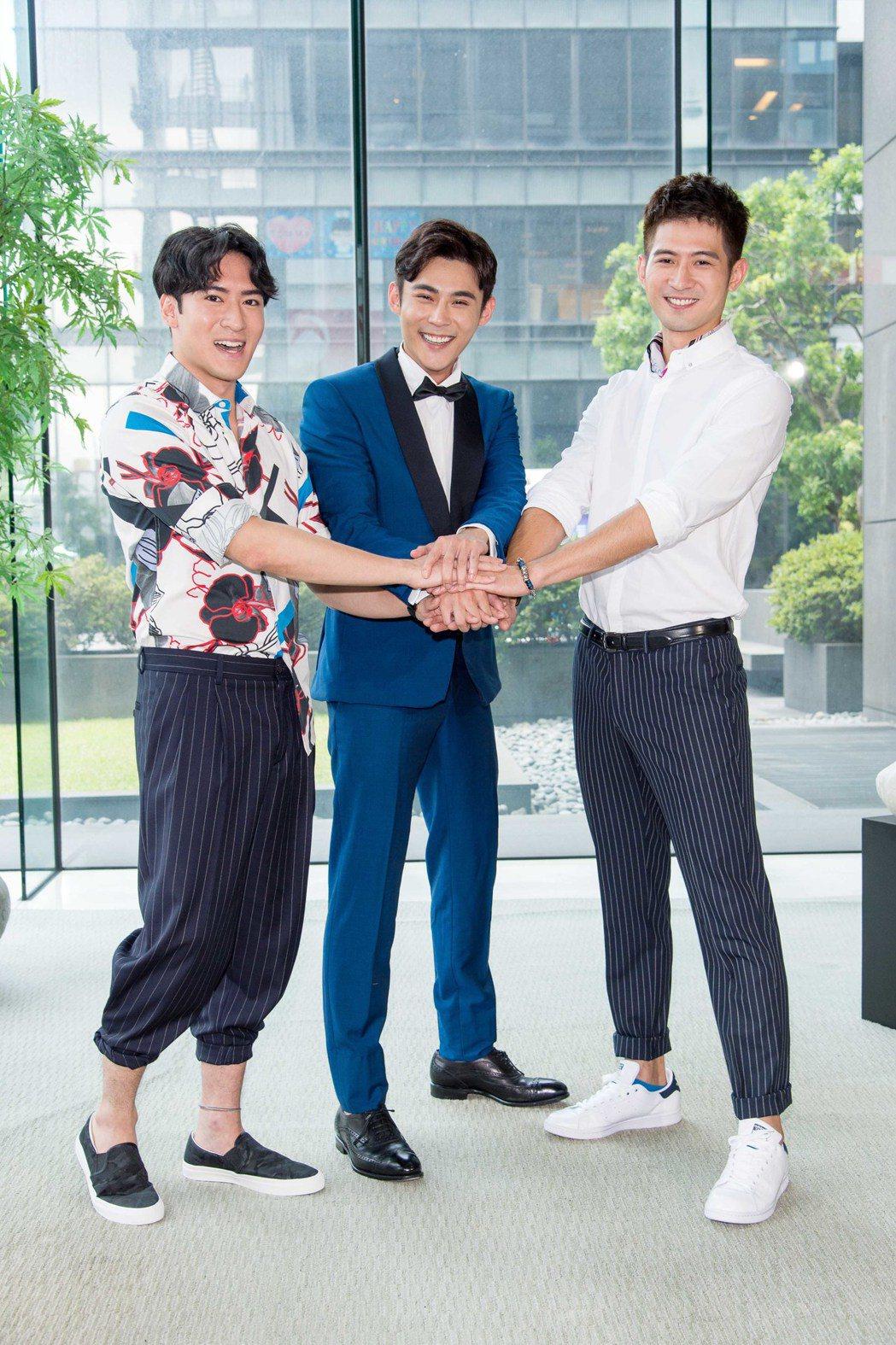 沈建宏(左起)和簡宏霖、陳奕接拍新戲台視、三立週日新偶像劇「噗通噗通我愛你」。圖