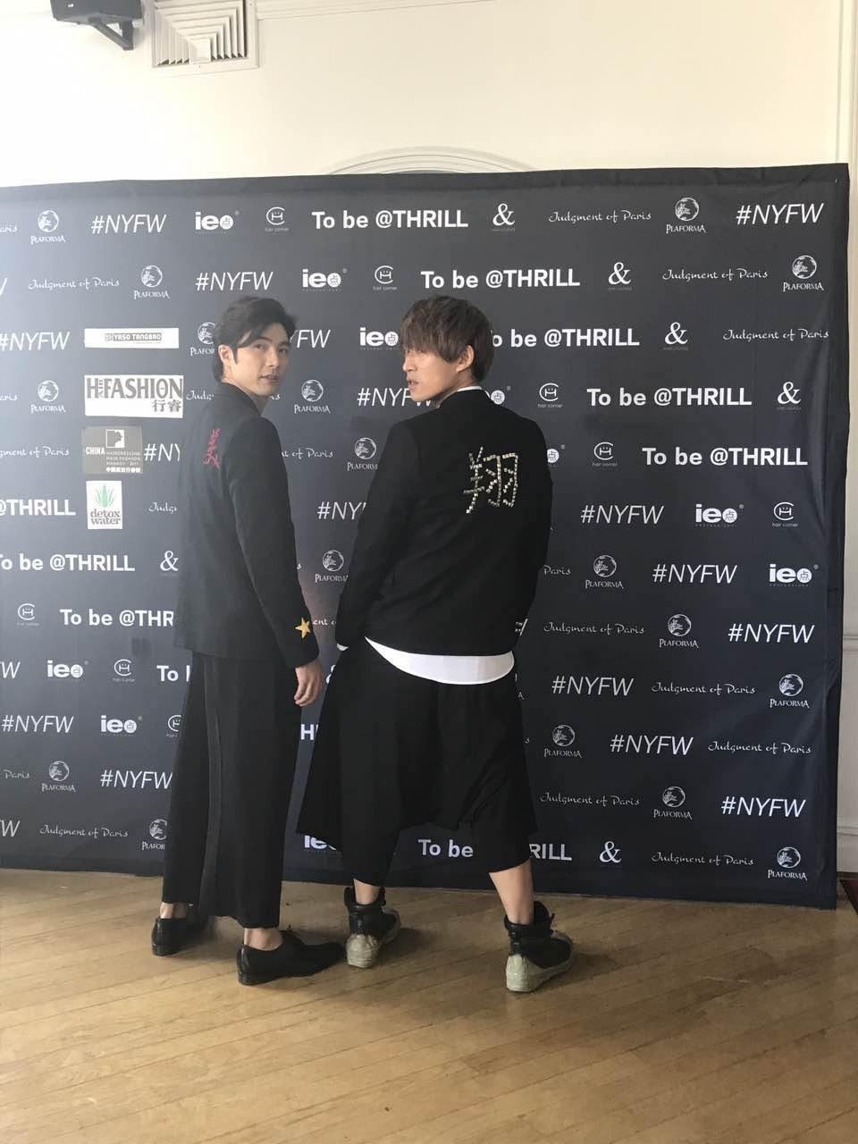 賀軍翔(左)和高中死黨呂白為自家品牌出席紐約男裝週。圖/小美工作室提供