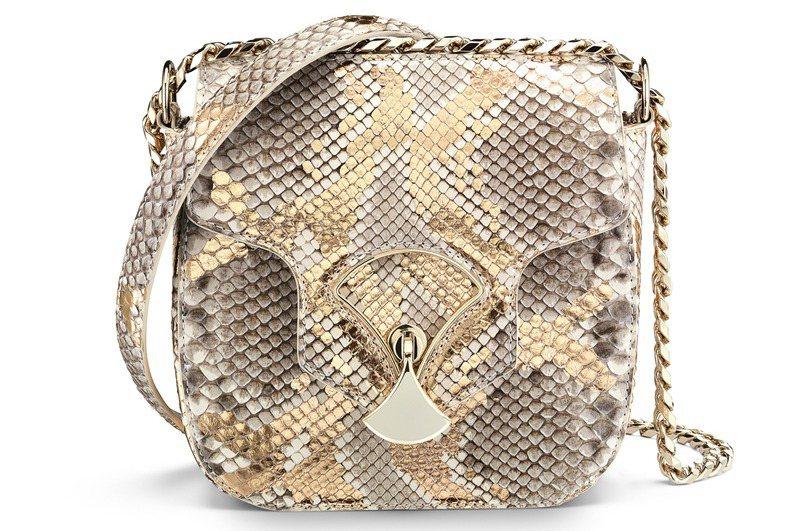 BVLGARI DIVAS' DREAM古銅色花紋蟒蛇皮肩背包,約100,300...