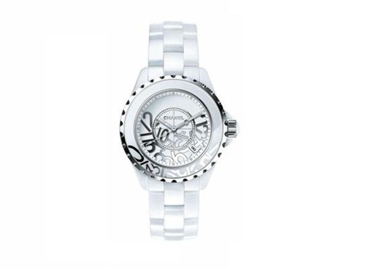 J12 Graffiti 腕表,38毫米白色高科技精密陶瓷及精鋼,自動上鍊機芯,...
