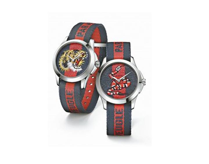 GUCCI奇蹟市集系列腕表,38毫米帆布織帶表盤飾有虎頭、珊瑚蛇刺繡,約28,0...