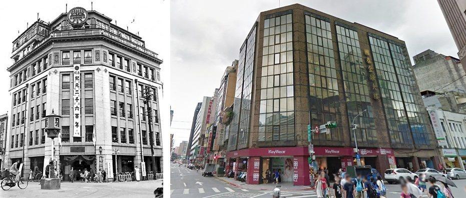 左:菊元百貨。圖/文化局提供右:菊元百貨原址現況。圖/取自google地景