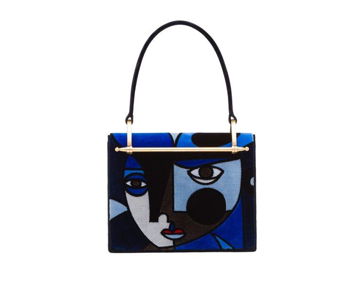 PRADA Cartella絲絨復古手提方包,10萬500元。圖/PRADA提供