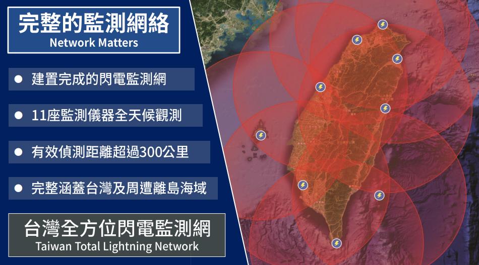 台灣閃電監測網將在台北、桃園、台中、台南、屏東、宜蘭、花蓮、澎湖布設監測儀器,之...
