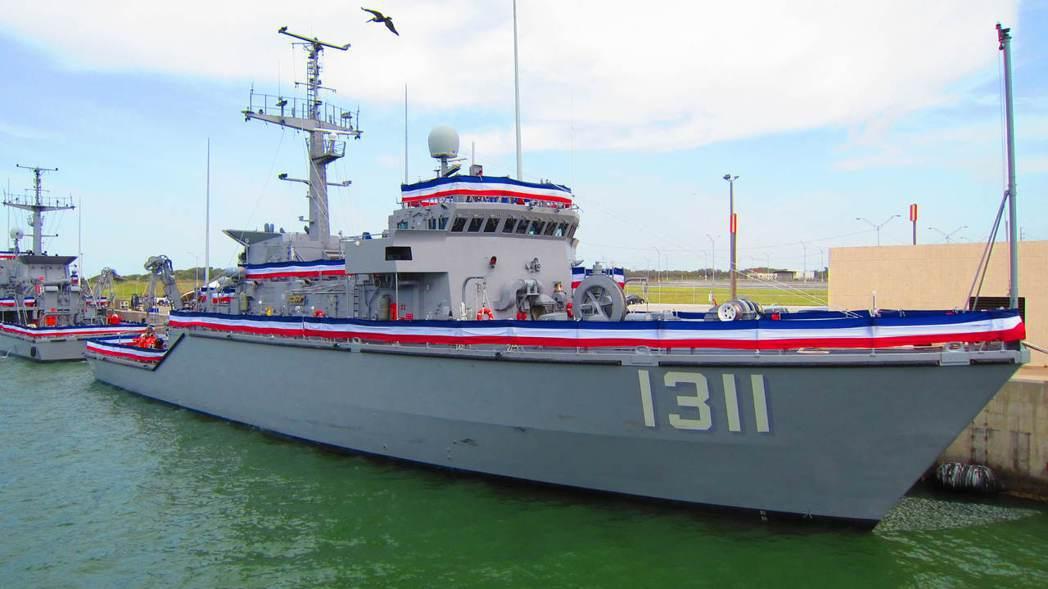 圖為永靖級獵雷艦編號1311的永安號,攝於美國德州科博港。 圖/國防部提供