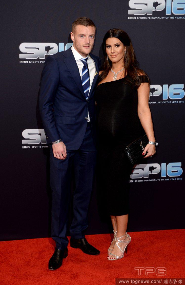 足球球星Jamie Vardy與老婆 Rebekah Vardy。圖/達志影像