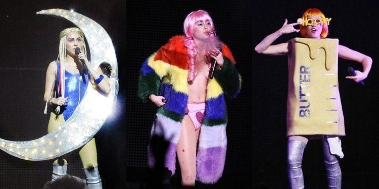 麥莉希拉巡迴演唱會Dead Petz Tour各種搞怪造型。圖/達志影像