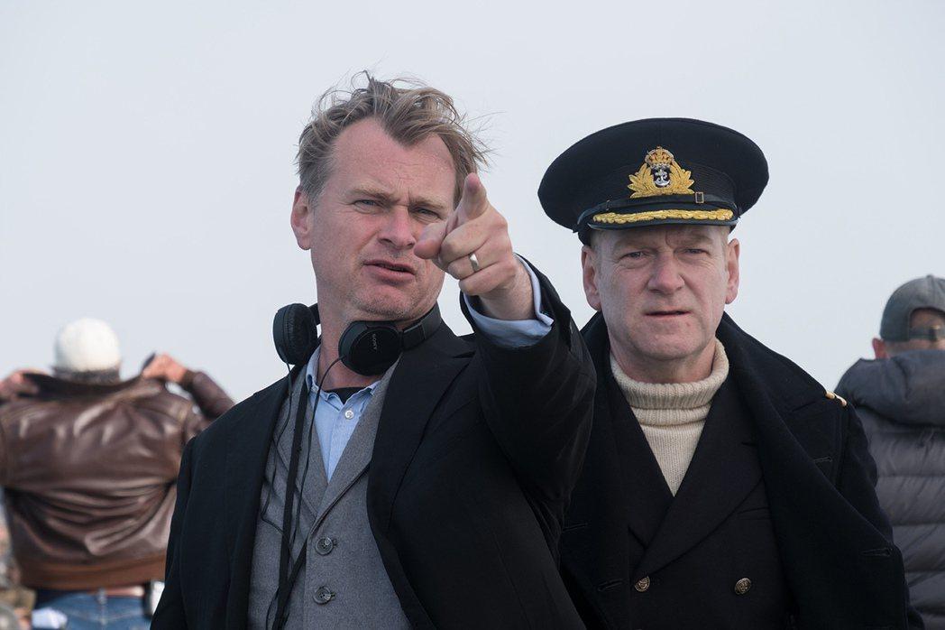 克里斯多夫諾蘭(左)執導「敦克爾克大行動」即將上映。圖/華納兄弟提供