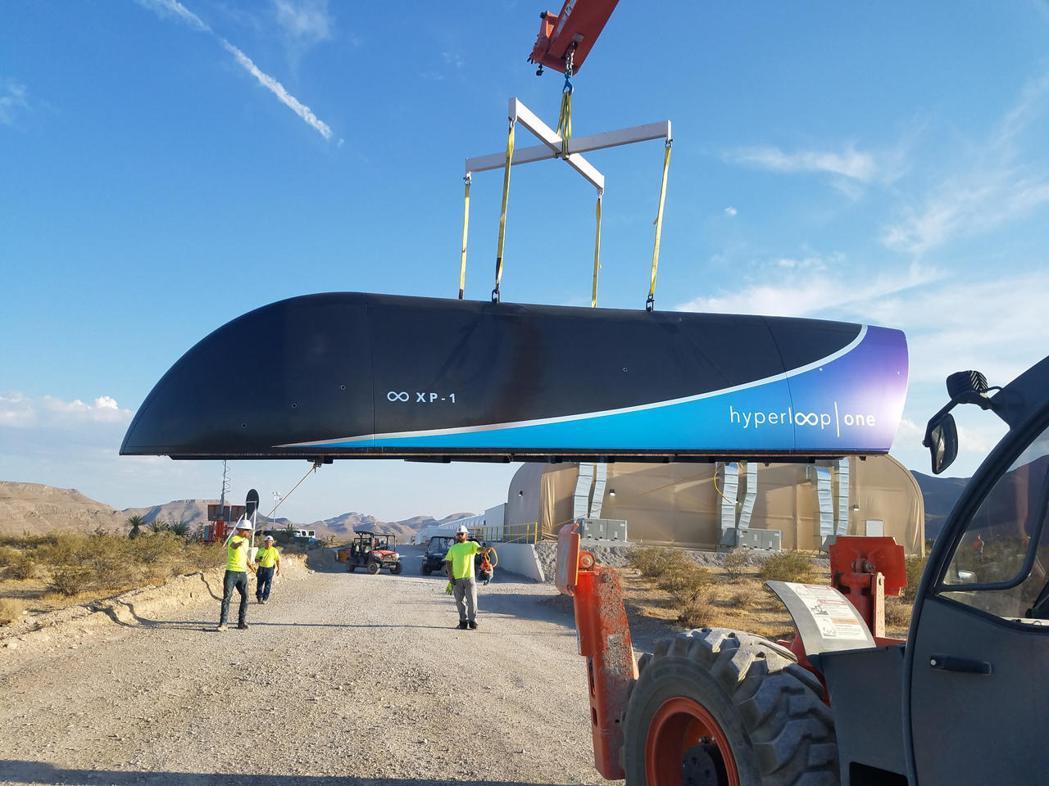 真空超級高鐵Hyperloop One首度測試成功。圖/Hyperloop On...
