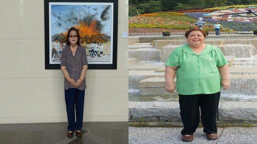 謝綉敏去年體重超過120公斤(右),如今減重至68公斤(左),覺得輕鬆自在。 圖...