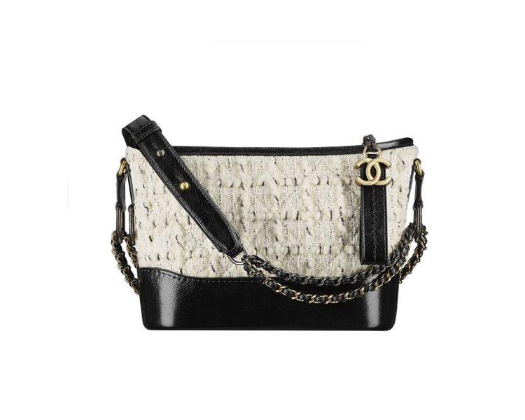 米色斜紋軟呢黑色皮革Gabrielle de Chanel包款(小型),104,...