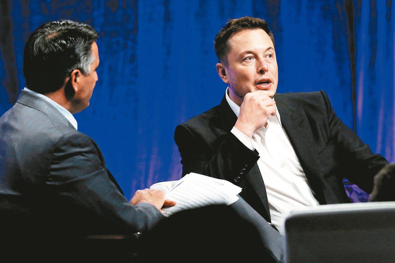 電動車廠特斯拉執行長穆斯克(右)15日在美國「全國州長協會」上警告,人工智慧崛起...