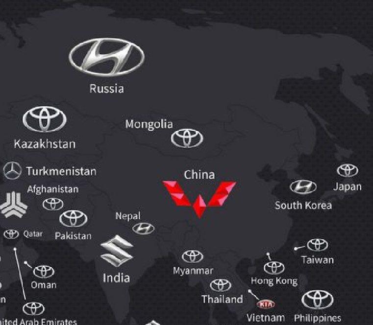 根據分佈圖所示,現代汽車在俄羅斯為最暢銷的品牌。 截圖自Regtransfers
