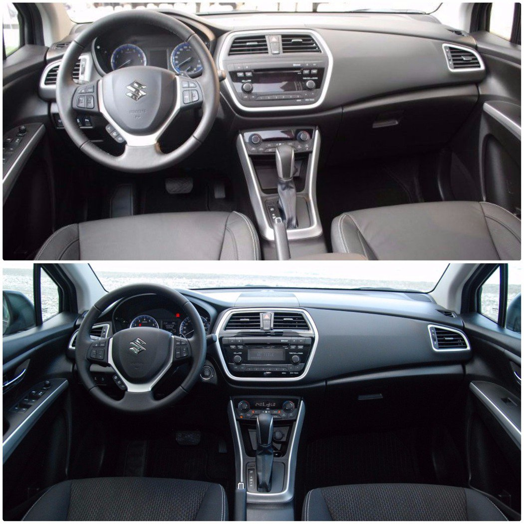 Suzuki New SX4 在內裝上可說是完全沒變,圖的上方為先前 SX4 Crossover的內裝照,下方為此次試駕的 New SX4。 記者林鼎智/攝影