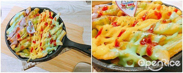 ▲彩虹醬酥炸薯條。將薯條淋上不同顏色的沾醬,不僅好吃還意外的繽紛好拍。