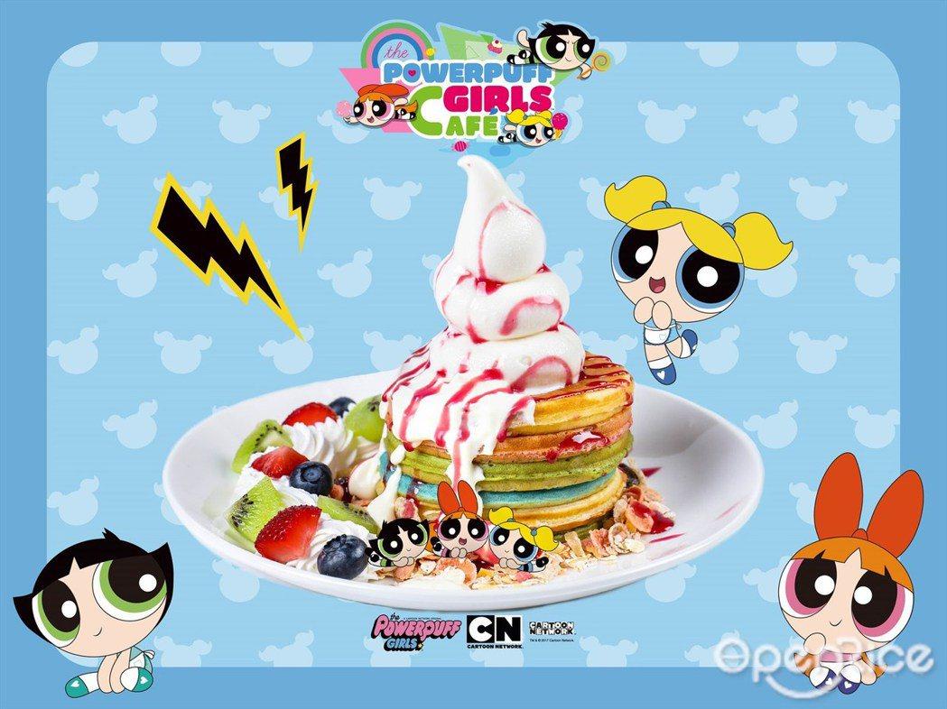 ▲彩虹鬆餅。超人氣甜點,鬆餅呈現出黃、藍、綠3色充滿夏天感,搭配上鮮奶油後滿足的...