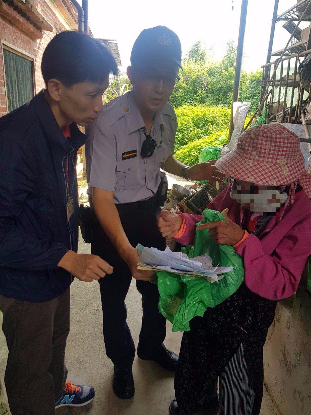 警方和台銀人員第二天趕往老婦家中,幫她辦理止付。記者廖炳棋/翻攝