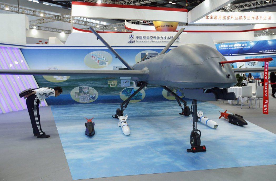 大陸彩虹4型無人機2013年在北京航空展展出。路透