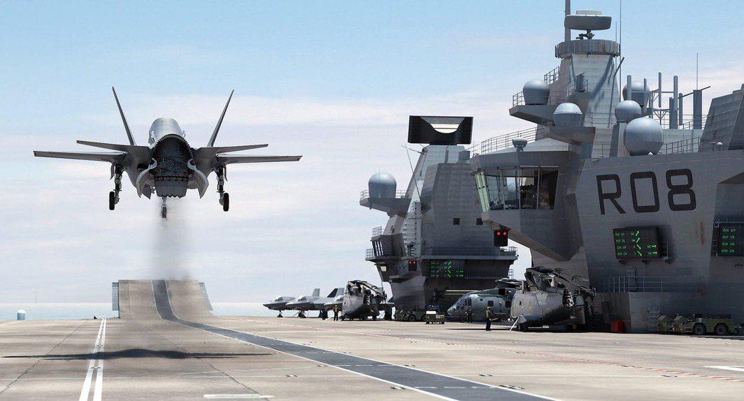 伊莉莎白級航艦採用加裝攔阻索的滑跳甲板。 圖/英國國防部Flickr