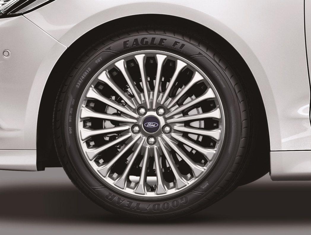 Ford Mondeo大器車身線條升級搭配18吋輪圈。 圖/福特六和提供