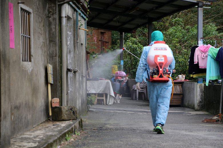 新北市動保處安排獸醫師每周進駐貓村看診,同時加強消毒。 圖/新北市動保處提供