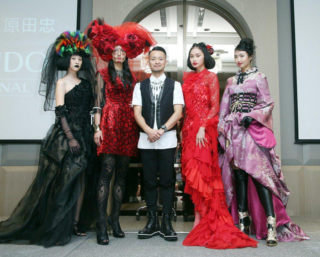 日本髮妝神人原田忠(中)首度在台舉辦創意髮藝發表。記者陳瑞源/攝影