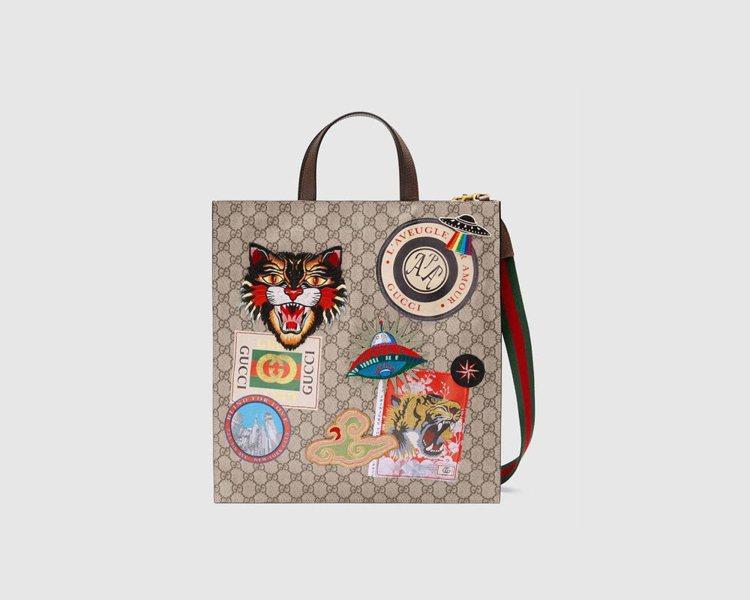 Gucci Courrier徽章拼貼托特包,58,700元。圖/Gucci提供