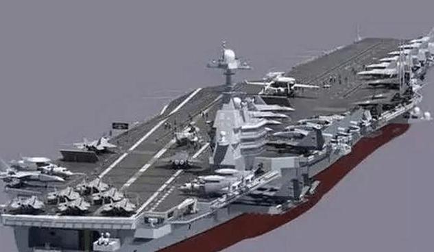 大陸第二艘自製航母002型的模擬圖。 圖/取自新浪軍事