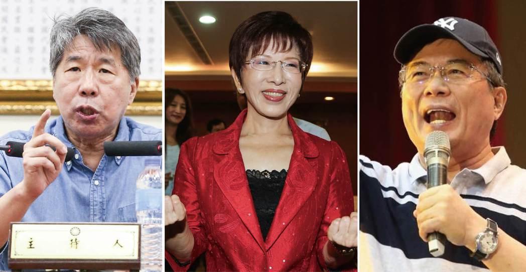 蔡正元(右)和張亞中(左)是前國民黨主席洪秀柱(中)的兩大愛將及核心幹部。 圖/...