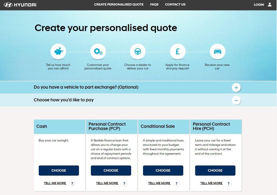 Hyundai網路售車的頁面。 摘自Hyundai Shopping Online UK