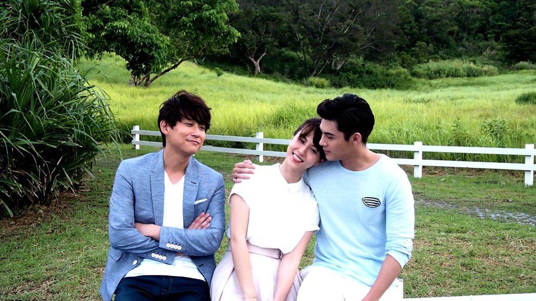 陳乃榮(左起)魏蔓和陳奕合作新偶像劇「噗通噗通我愛你」。圖/三立提供