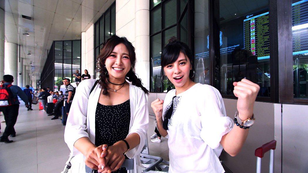 大元(左)和宇珊到泰國錄「閨蜜愛旅行」。圖/TVBS提供