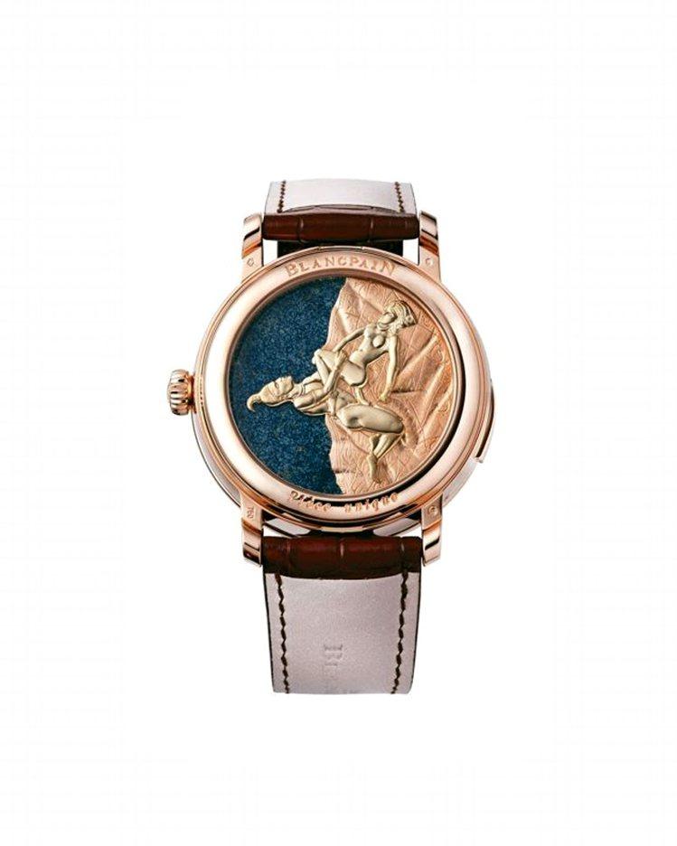 寶鉑卡羅素三問春宮腕表,表背上有全手工裝飾獨一無二春宮圖與活動人偶,搭載232型...