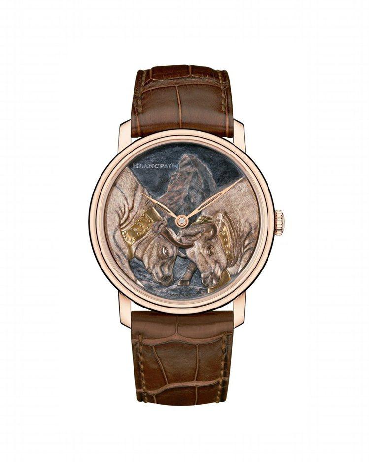 寶鉑藝術大師系列雙牛表,18K紅金材質錶殼,Shakudo赤銅表盤,手工裝飾與鎸...