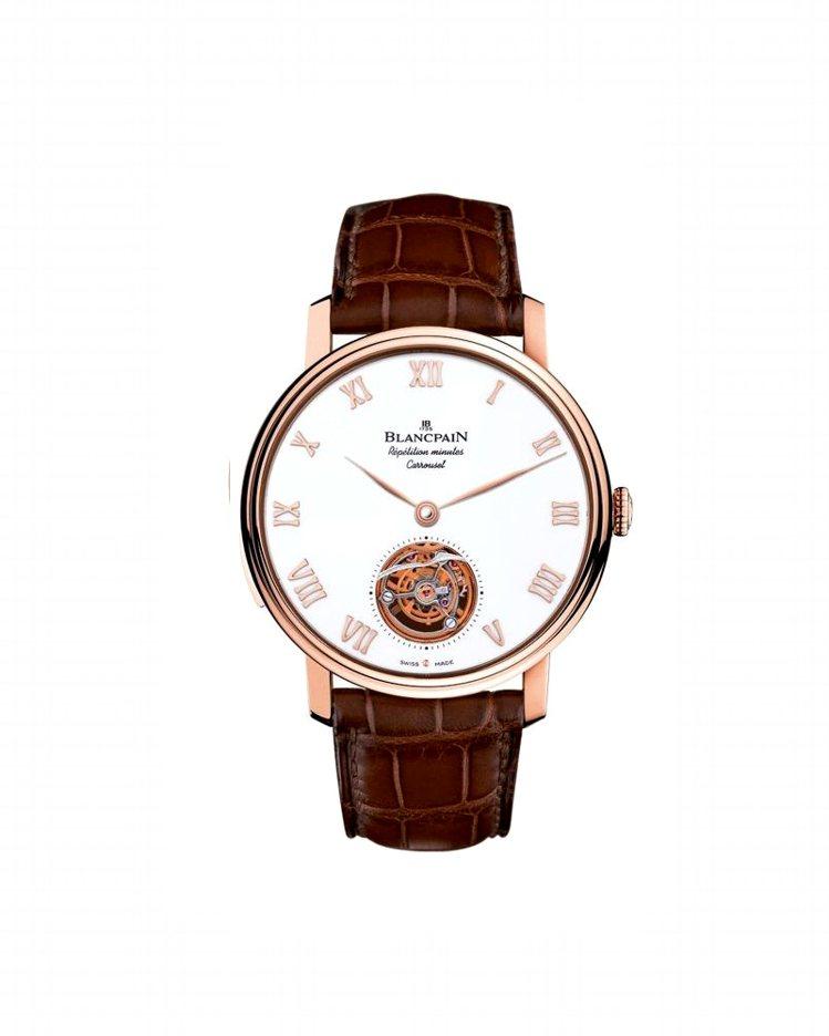 寶鉑卡羅素三問春宮腕表,18K紅金材質表殼,白色大明火琺瑯表盤,一分鐘飛行卡羅素...