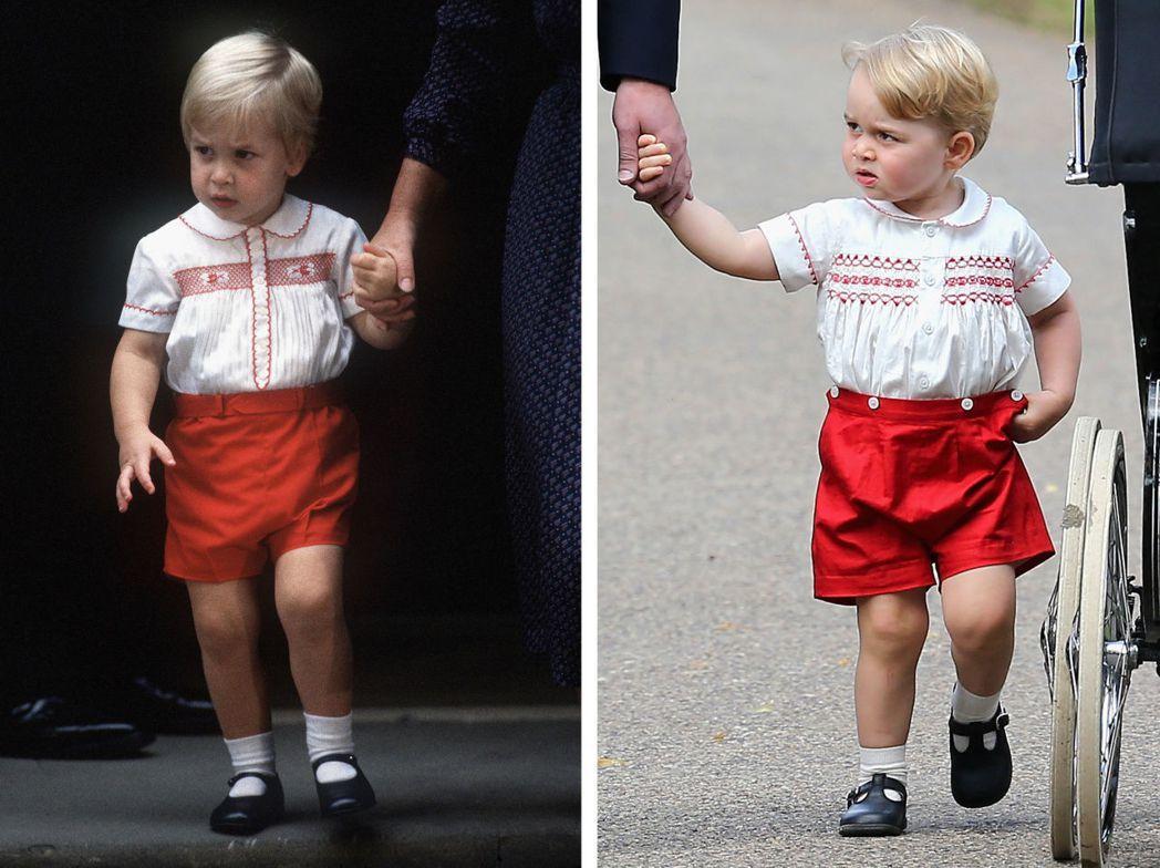 喬治小王子(圖右)只穿短褲,也沒看過他穿卡通人物T恤。圖左為爸爸威廉王子小時候 ...