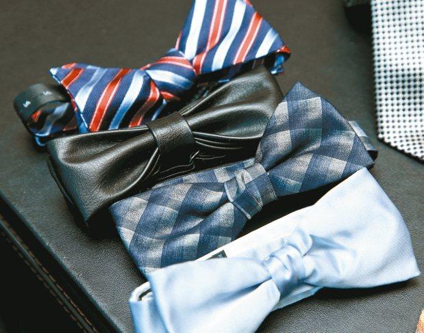 劉家豪也會收藏領結,可以視不同場合做搭配。 記者陳瑞源/攝影