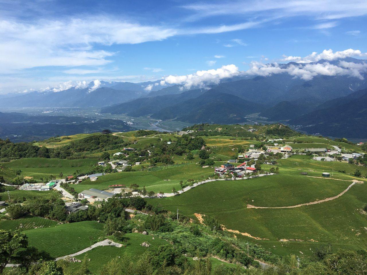 站在六十石山小瑞士觀景台,可俯瞰金針花海。記者陳麗婷/攝影