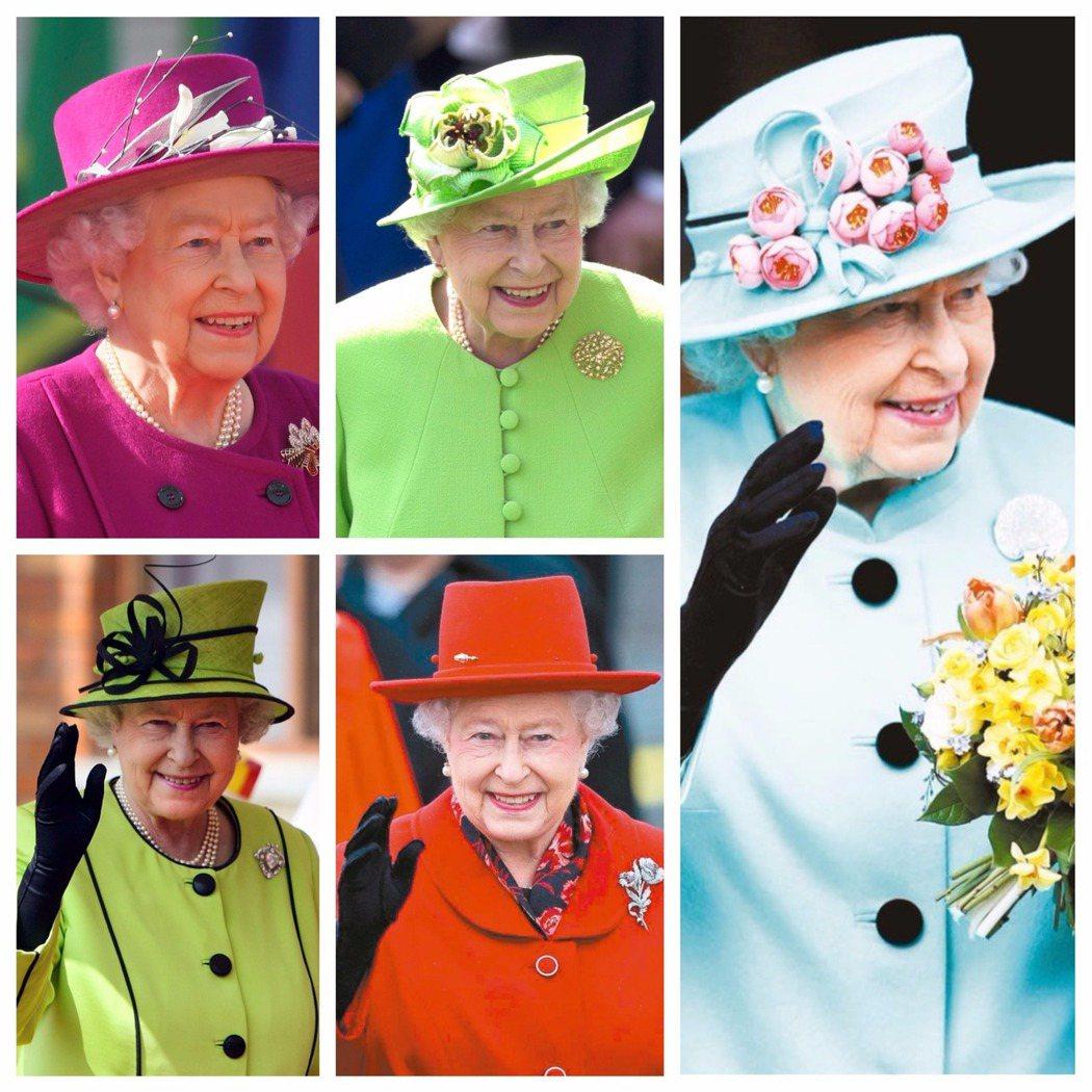 女王出席官方活動時,總會戴一頂顏色鮮豔、設計大膽的帽子。 圖/本報資料照