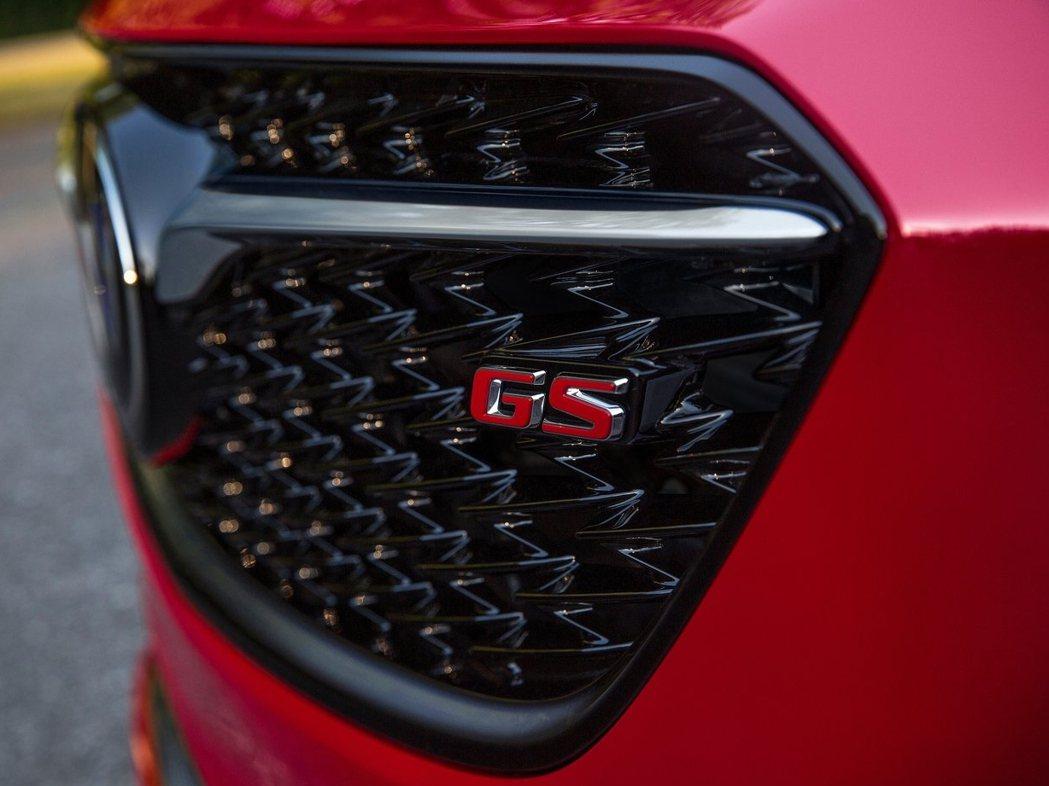 水箱罩採黑色鏡面烤漆處哩,搭配GS紅色飾徽,表明其性能地位。 圖片來源:Buick
