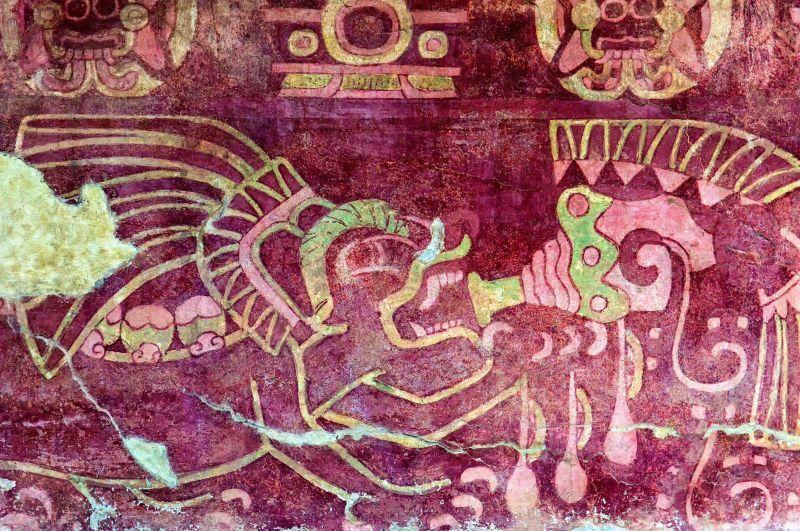 吹奏海螺的美洲豹壁畫。(Photo│123RF)