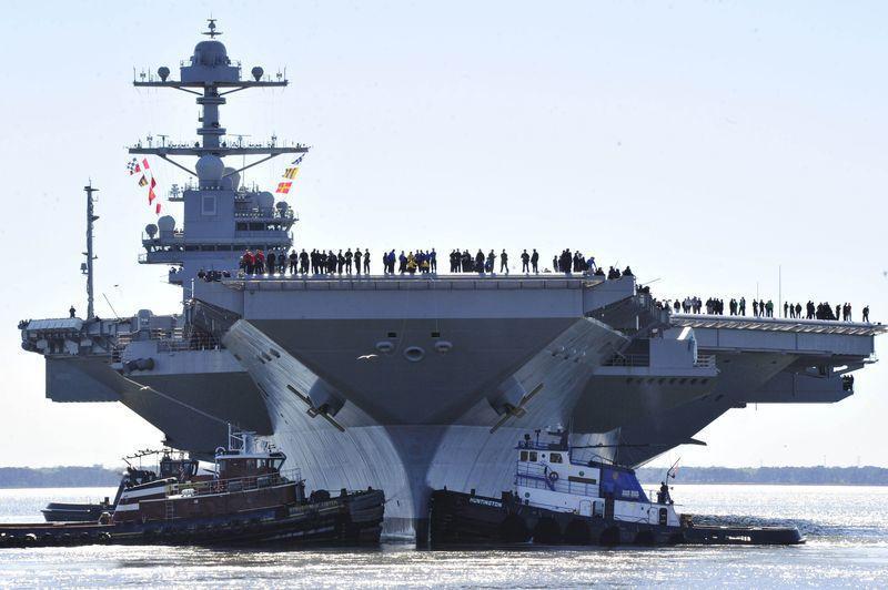 「福特號」航母今年4月8日在海上試航。 圖/取自美國海軍