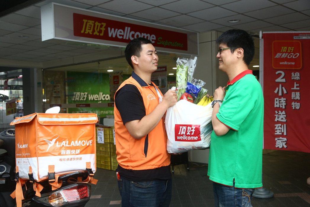 啦啦快送與頂好線上購物合作,在台北市下單後2小時宅配到家。 圖/頂好提供
