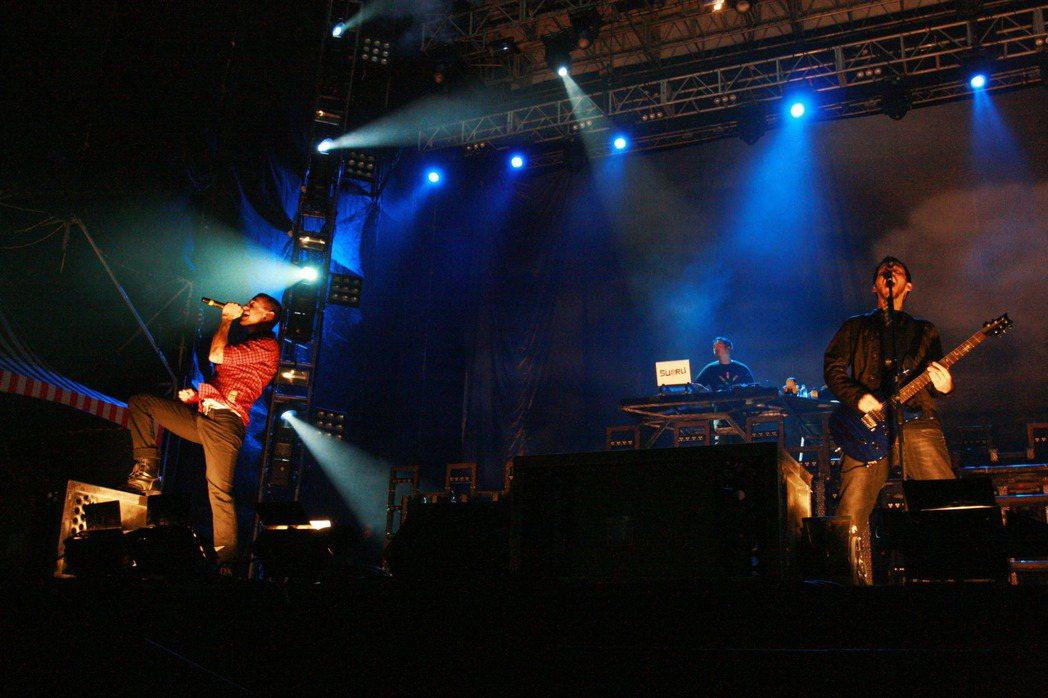 搖滾樂團「聯合公園」2007年11月16日首度登台開唱。 圖/聯合報系資料照