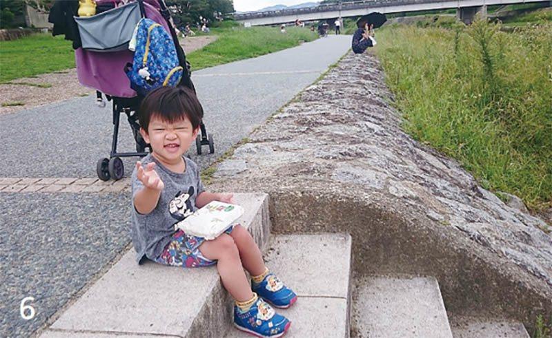 買了名代豆餅去鴨川野餐